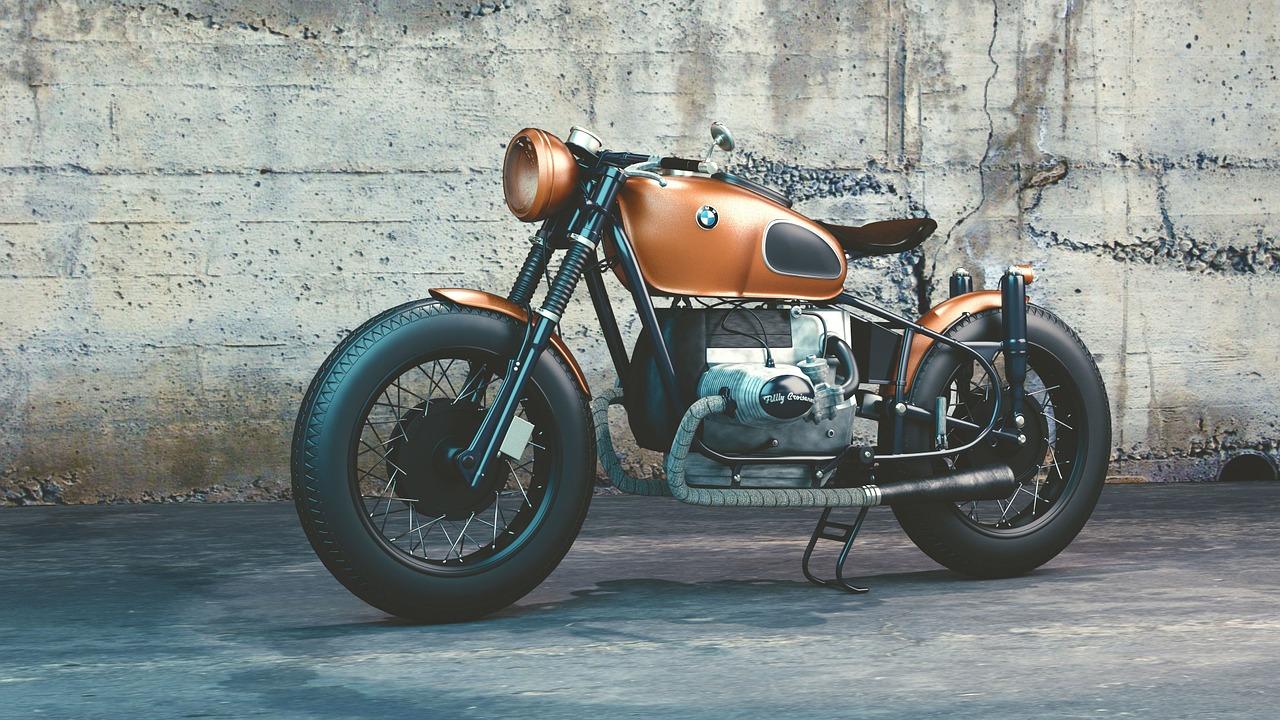 Orange bmw motorbike
